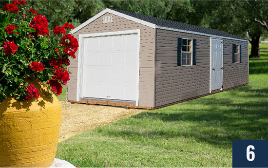Amish Built Vinyl Standard with Garage from Sheds Direct, Inc.