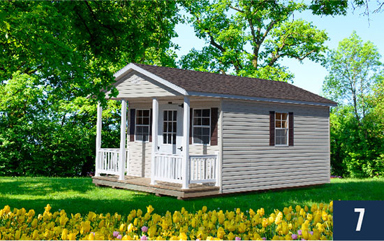Amish Built Vinyl Deluxe with Porch from Sheds Direct, Inc.