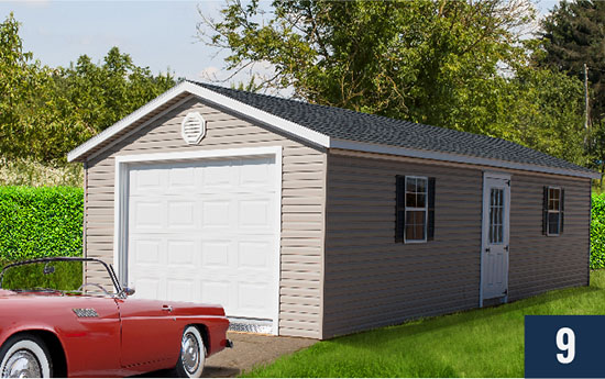 Amish Built Vinyl Deluxe with Garage from Sheds Direct, Inc.