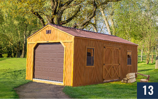 Amish built Utility Shed with Garage Door from Sheds Direct, Inc.
