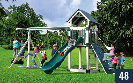 Custom Playset with Slide and Swings and Rockwall for Kids from Sheds Direct, Inc.