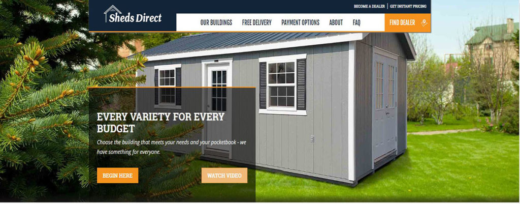 Sheds Direct, Inc. Website Homepage