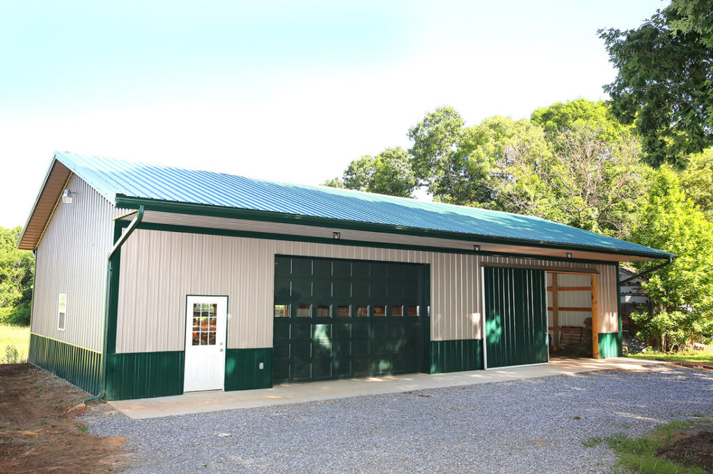 Pole Barn Garage with Green Detailing